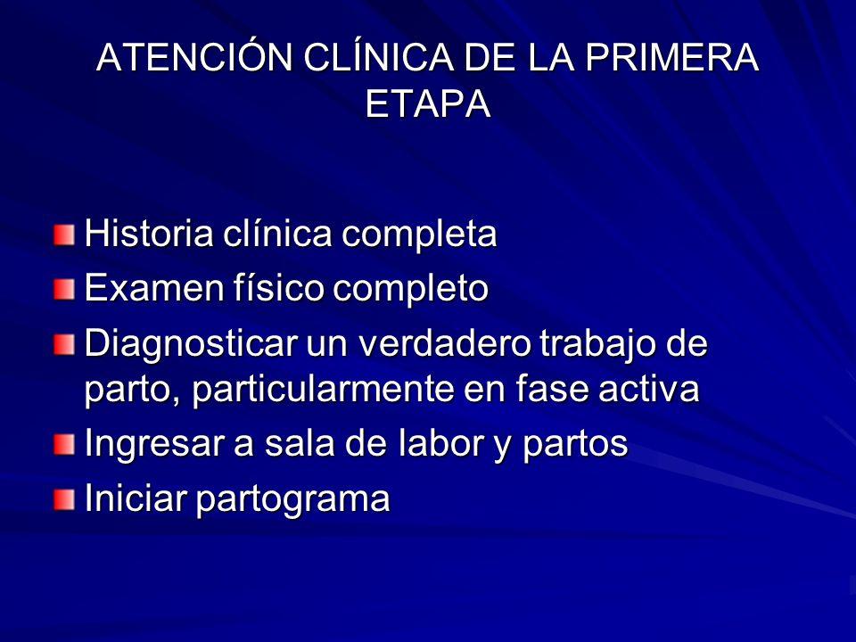 ATENCIÓN CLÍNICA DE LA PRIMERA ETAPA Historia clínica completa Examen físico completo Diagnosticar un verdadero trabajo de parto, particularmente en f