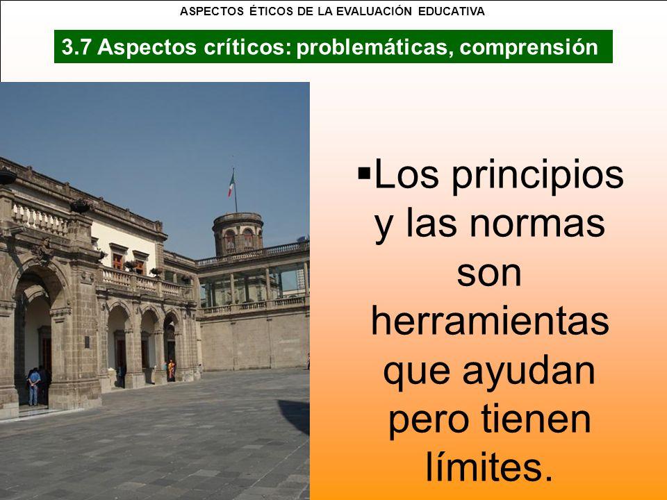 Los principios y las normas son herramientas que ayudan pero tienen límites. 3.7 Aspectos críticos: problemáticas, comprensión ASPECTOS ÉTICOS DE LA E