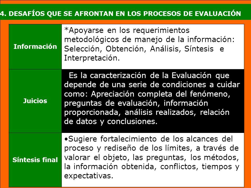 4. DESAFÍOS QUE SE AFRONTAN EN LOS PROCESOS DE EVALUACIÓN Información *Apoyarse en los requerimientos metodológicos de manejo de la información: Selec
