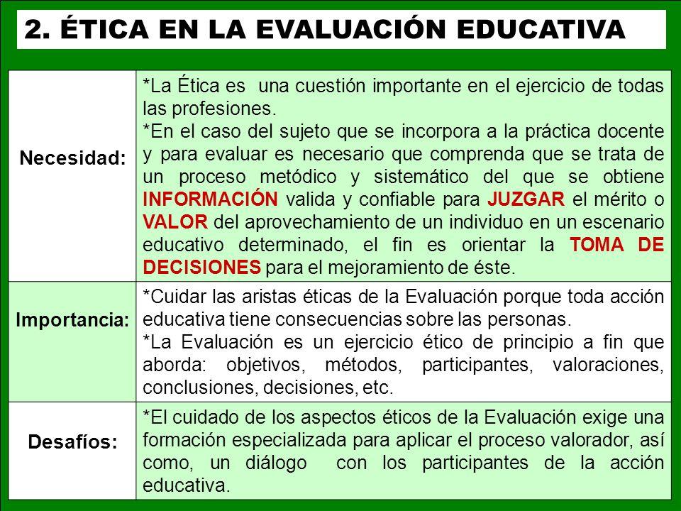 3.1 Contenido AEA Principios de la evaluación JCSEE Normas de evaluación * Propiedades.