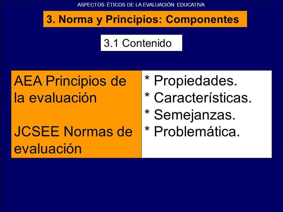 3.1 Contenido AEA Principios de la evaluación JCSEE Normas de evaluación * Propiedades. * Características. * Semejanzas. * Problemática. 3. Norma y Pr