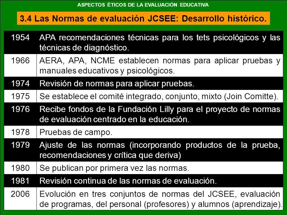 3.4 Las Normas de evaluación JCSEE: Desarrollo histórico. 1954APA recomendaciones técnicas para los tets psicológicos y las técnicas de diagnóstico. 1