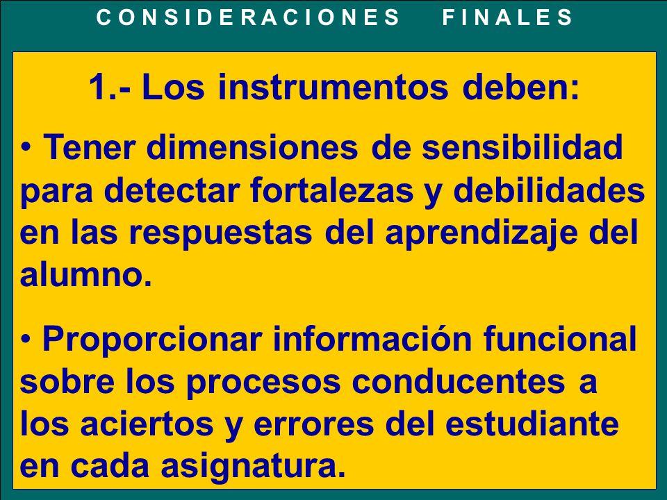 C O N S I D E R A C I O N E S F I N A L E S 1.- Los instrumentos deben: Tener dimensiones de sensibilidad para detectar fortalezas y debilidades en la