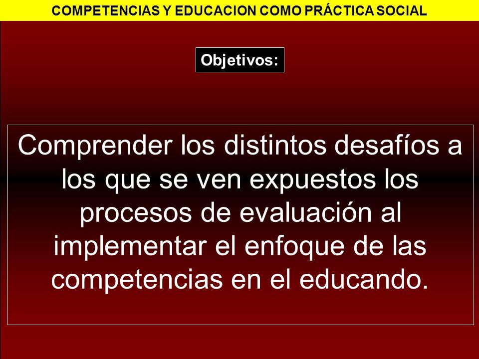 Comprender los distintos desafíos a los que se ven expuestos los procesos de evaluación al implementar el enfoque de las competencias en el educando.