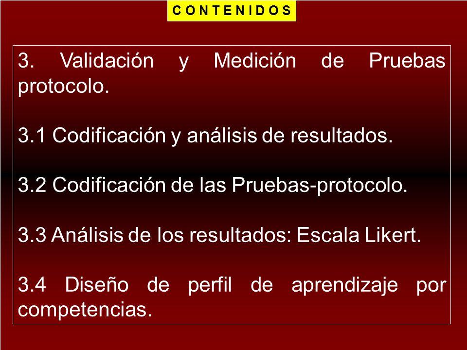 3. Validación y Medición de Pruebas protocolo. 3.1 Codificación y análisis de resultados. 3.2 Codificación de las Pruebas-protocolo. 3.3 Análisis de l