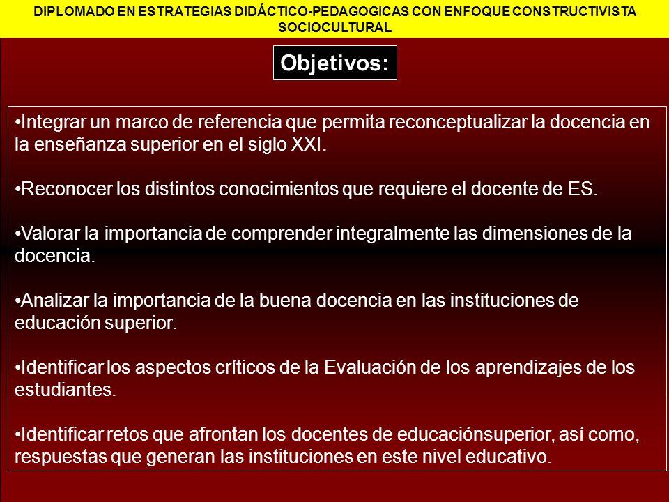 Integrar un marco de referencia que permita reconceptualizar la docencia en la enseñanza superior en el siglo XXI. Reconocer los distintos conocimient