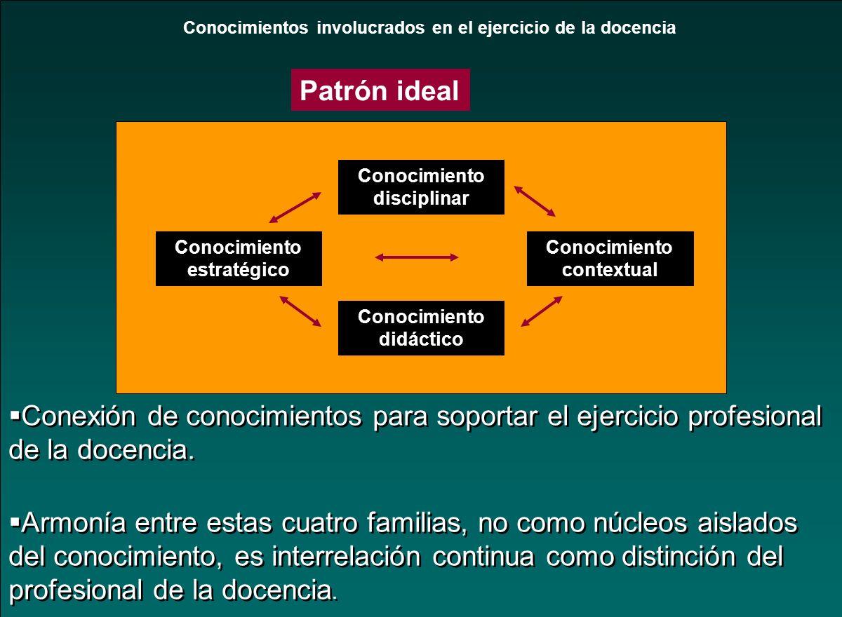 Conocimientos involucrados en el ejercicio de la docencia Conocimiento disciplinar Conocimiento estratégico Conocimiento contextual Conocimiento didác