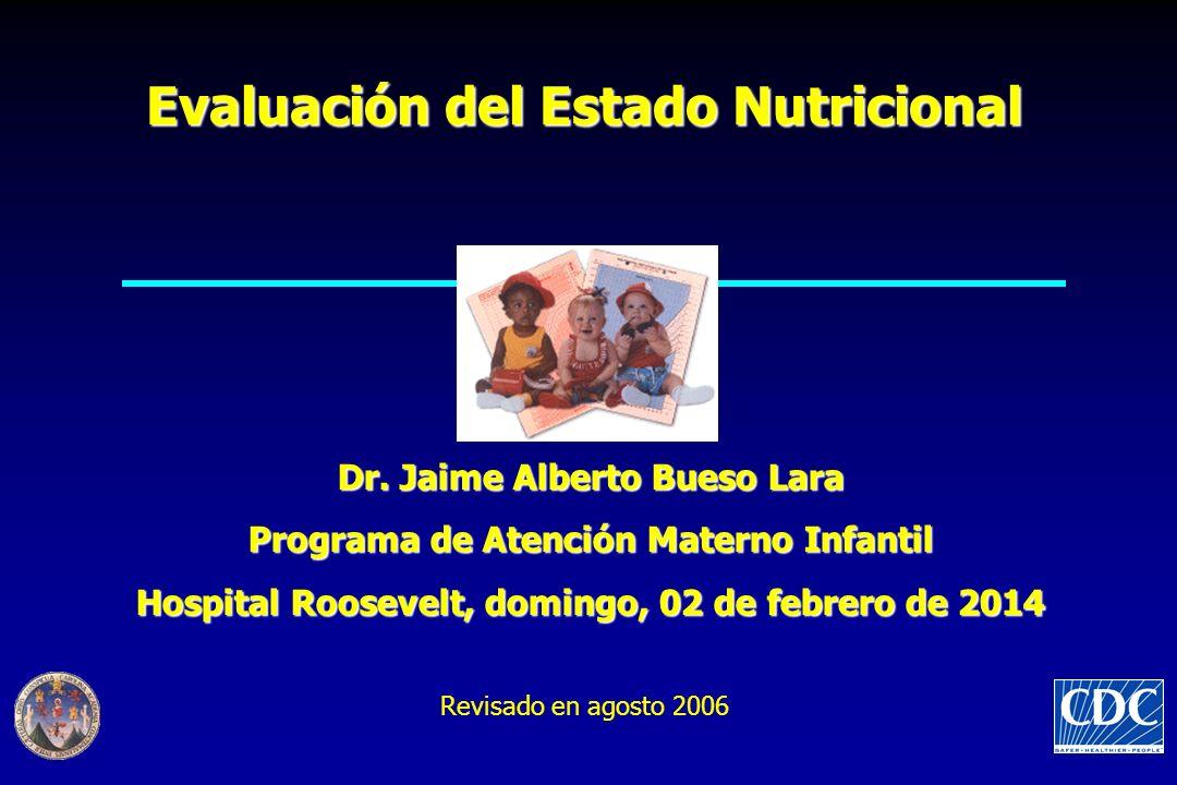 Evaluación del Estado Nutricional Dr. Jaime Alberto Bueso Lara Programa de Atención Materno Infantil Hospital Roosevelt, domingo, 02 de febrero de 201