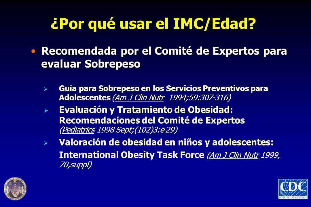 ¿Por qué usar el IMC/Edad? Recomendada por el Comité de Expertos para evaluar Sobrepeso Guía para Sobrepeso en los Servicios Preventivos para Adolesce