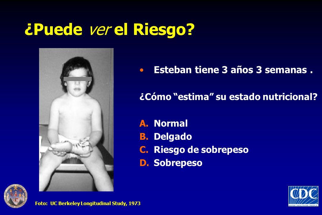 ¿Puede ver el Riesgo? Esteban tiene 3 años 3 semanas. ¿Cómo estima su estado nutricional? A.Normal B.Delgado C.Riesgo de sobrepeso D.Sobrepeso Foto: U