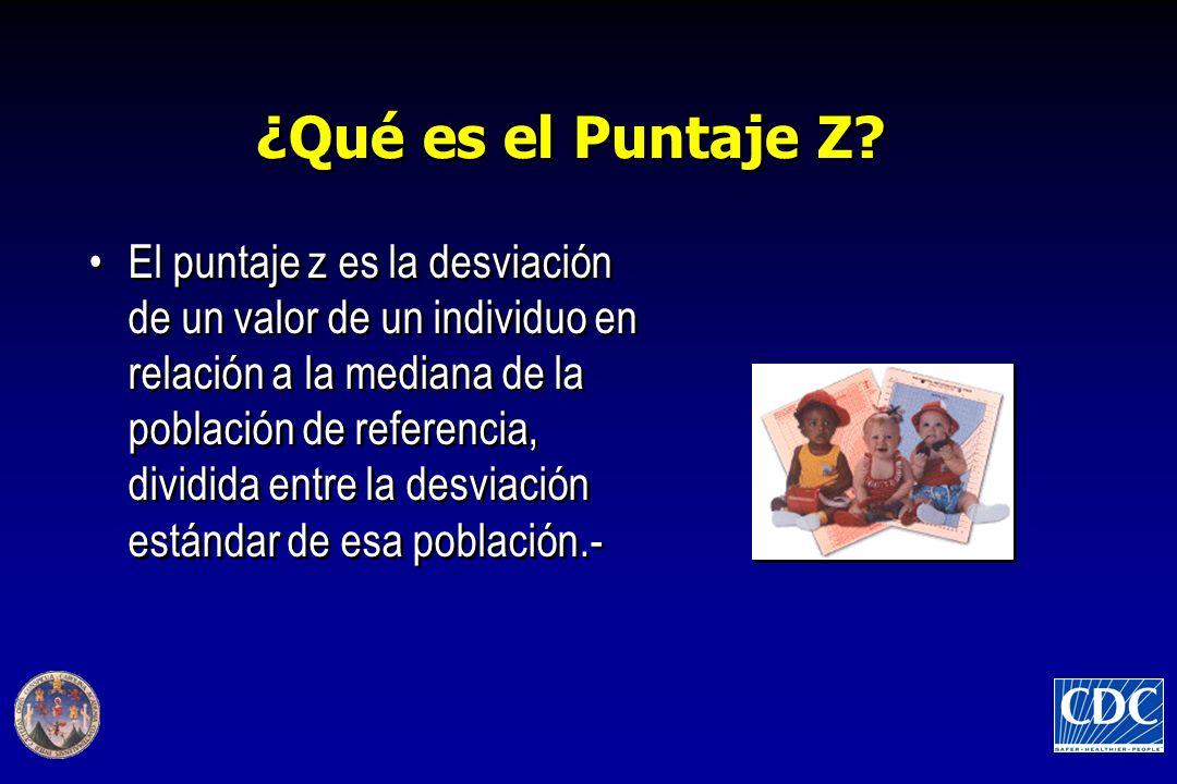 ¿Qué es el Puntaje Z? El puntaje z es la desviación de un valor de un individuo en relación a la mediana de la población de referencia, dividida entre