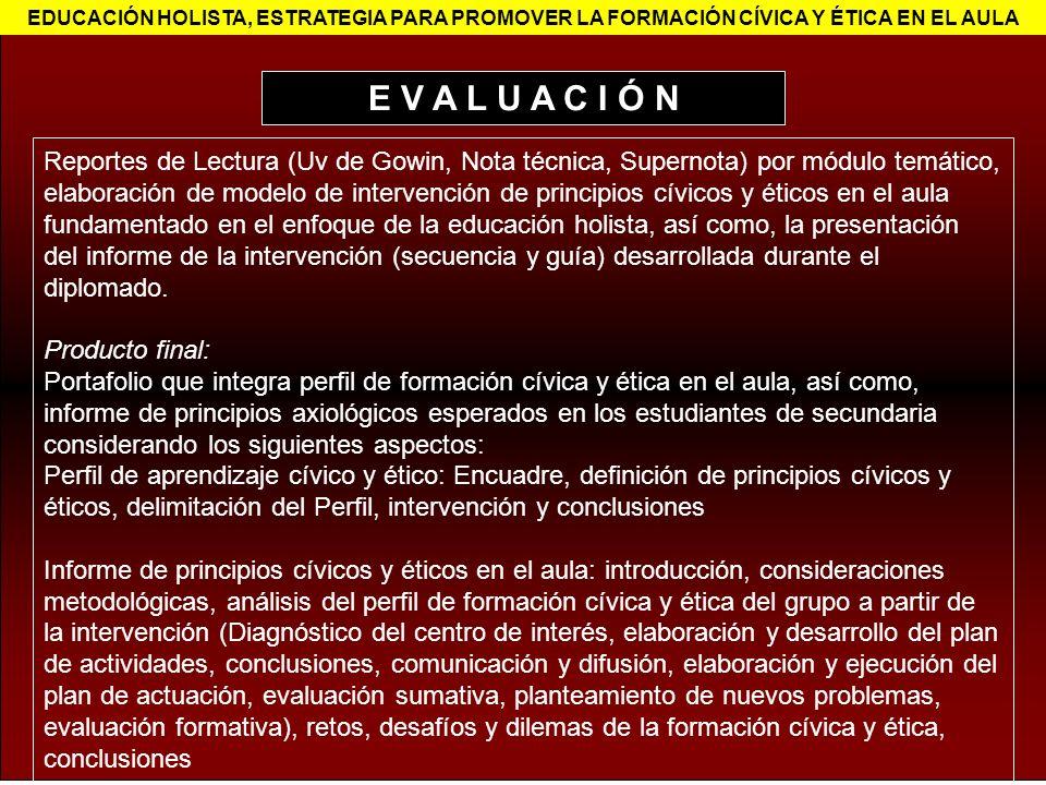 Reportes de Lectura (Uv de Gowin, Nota técnica, Supernota) por módulo temático, elaboración de modelo de intervención de principios cívicos y éticos e
