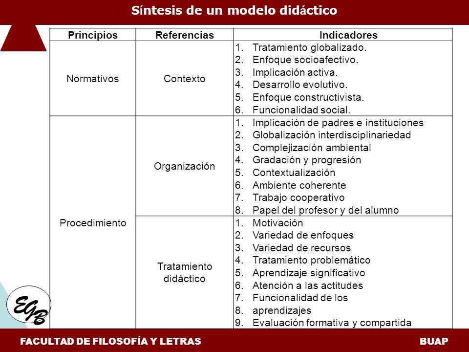 E G B S í ntesis de un modelo did á ctico FACULTAD DE FILOSOFÍA Y LETRAS BUAP PrincipiosReferenciasIndicadores NormativosContexto 1.Tratamiento globalizado.