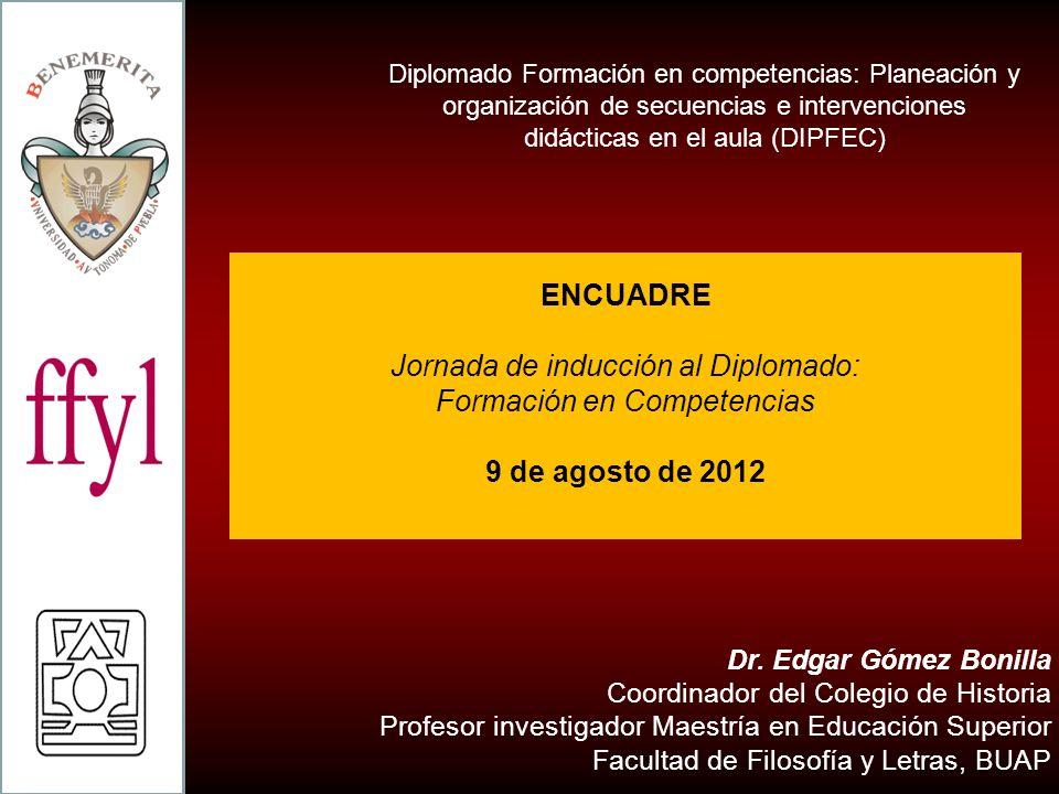 Dr. Edgar Gómez Bonilla Coordinador del Colegio de Historia Profesor investigador Maestría en Educación Superior Facultad de Filosofía y Letras, BUAP