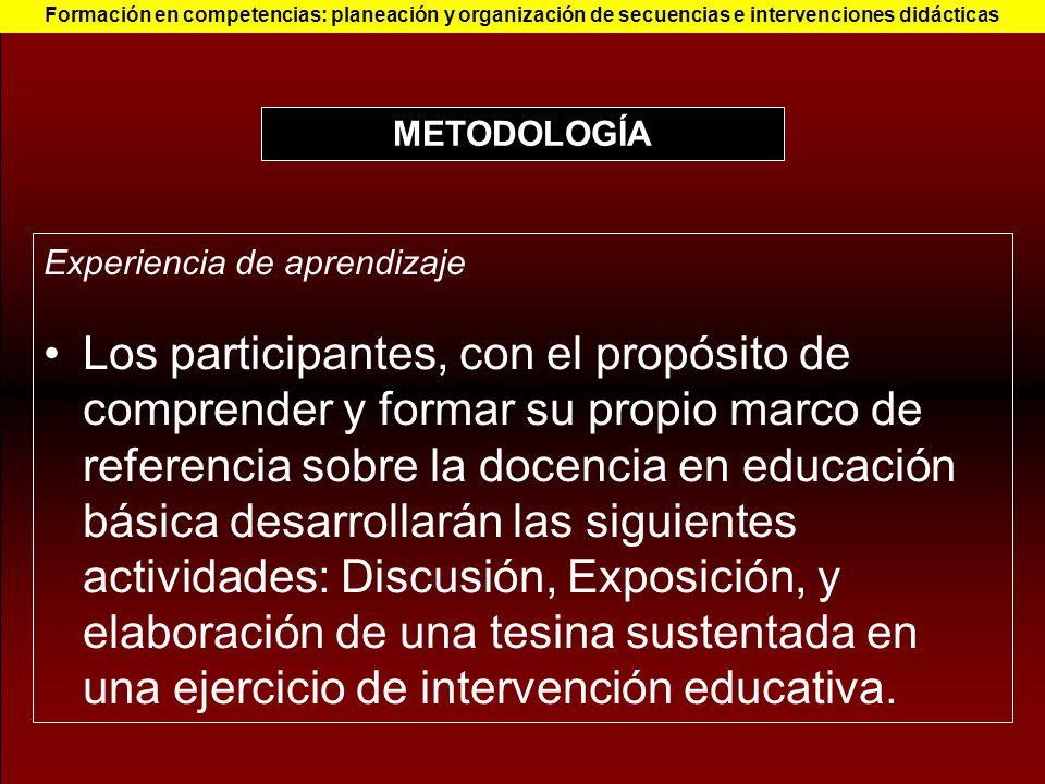 Experiencia de aprendizaje Los participantes, con el propósito de comprender y formar su propio marco de referencia sobre la docencia en educación bás