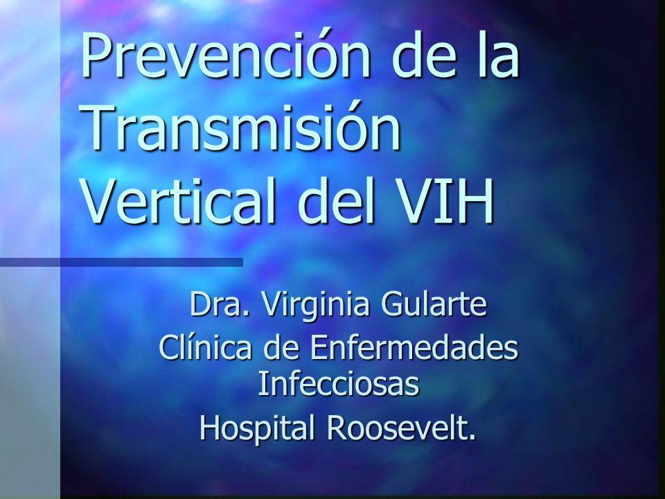 Prevención de la Transmisión Vertical del VIH Dra. Virginia Gularte Clínica de Enfermedades Infecciosas Hospital Roosevelt.