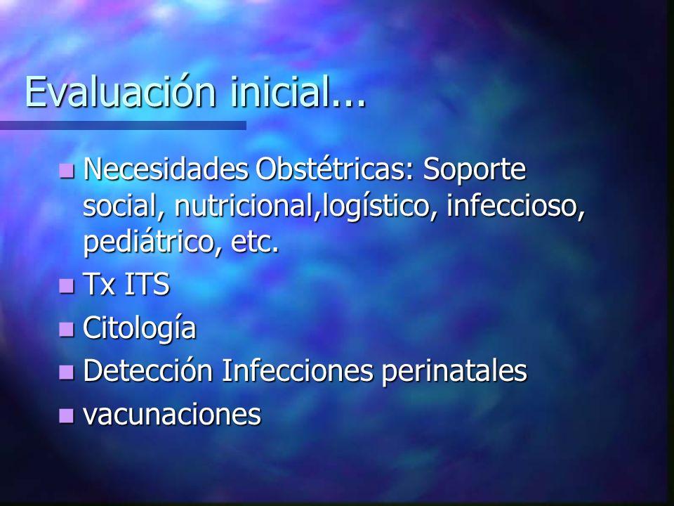 Evaluación inicial... Necesidades Obstétricas: Soporte social, nutricional,logístico, infeccioso, pediátrico, etc. Necesidades Obstétricas: Soporte so