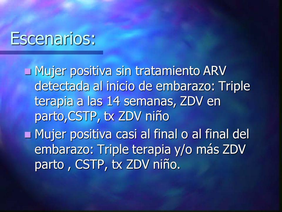 Escenarios: Mujer positiva sin tratamiento ARV detectada al inicio de embarazo: Triple terapia a las 14 semanas, ZDV en parto,CSTP, tx ZDV niño Mujer