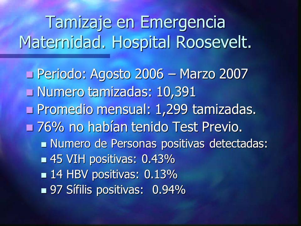 Tamizaje en Emergencia Maternidad. Hospital Roosevelt. Periodo: Agosto 2006 – Marzo 2007 Periodo: Agosto 2006 – Marzo 2007 Numero tamizadas: 10,391 Nu