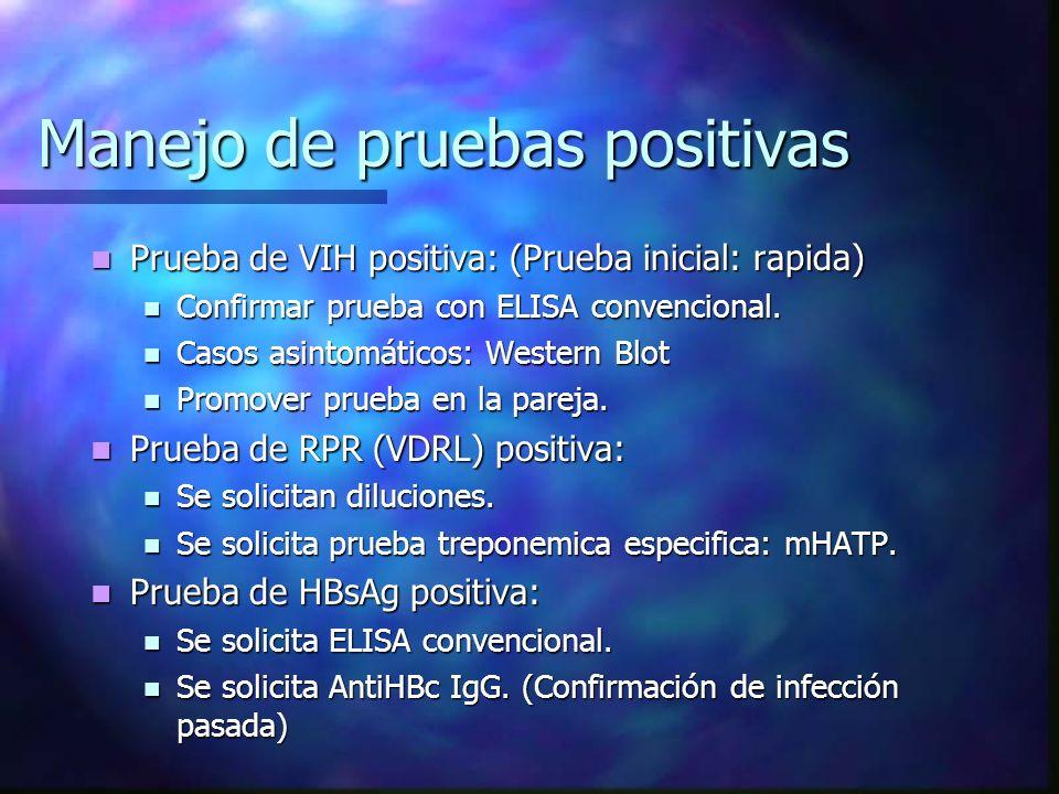 Manejo de pruebas positivas Prueba de VIH positiva: (Prueba inicial: rapida) Prueba de VIH positiva: (Prueba inicial: rapida) Confirmar prueba con ELI