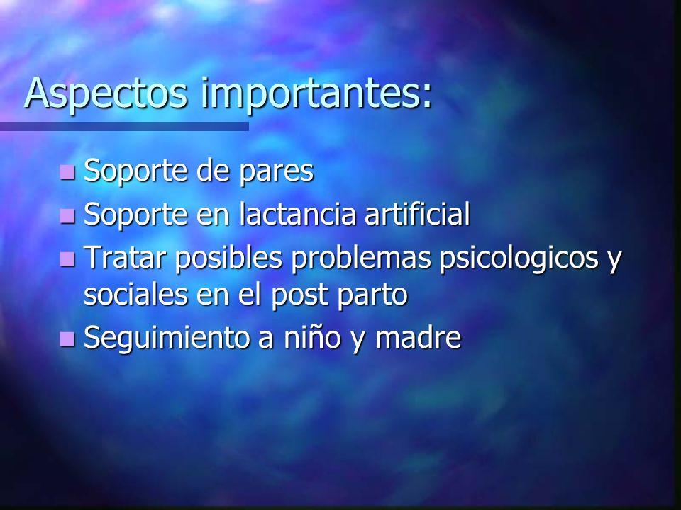 Aspectos importantes: Soporte de pares Soporte de pares Soporte en lactancia artificial Soporte en lactancia artificial Tratar posibles problemas psic