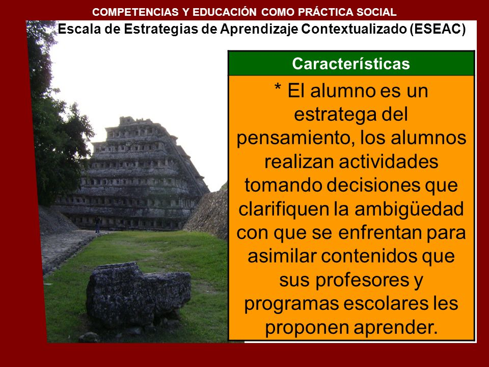 Estructura y Contenido de la Escala ESEAC DIMENSIÓNCONTEXTOESTRATEGIAS I.
