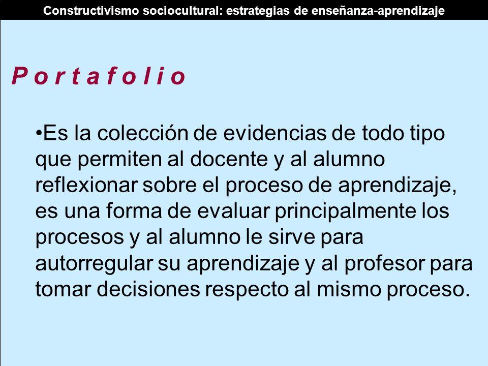 Constructivismo sociocultural: estrategias de enseñanza-aprendizaje P o r t a f o l i o Es la colección de evidencias de todo tipo que permiten al doc