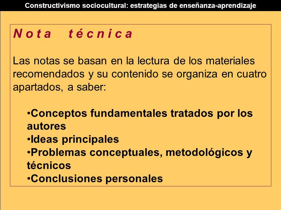 Constructivismo sociocultural: estrategias de enseñanza-aprendizaje N o t a t é c n i c a Las notas se basan en la lectura de los materiales recomenda