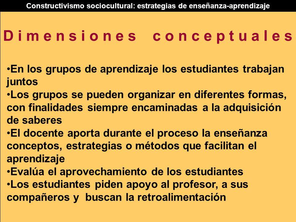 Constructivismo sociocultural: estrategias de enseñanza-aprendizaje En los grupos de aprendizaje los estudiantes trabajan juntos Los grupos se pueden