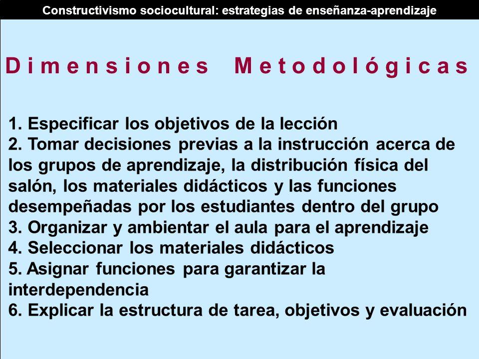 Constructivismo sociocultural: estrategias de enseñanza-aprendizaje 1. Especificar los objetivos de la lección 2. Tomar decisiones previas a la instru