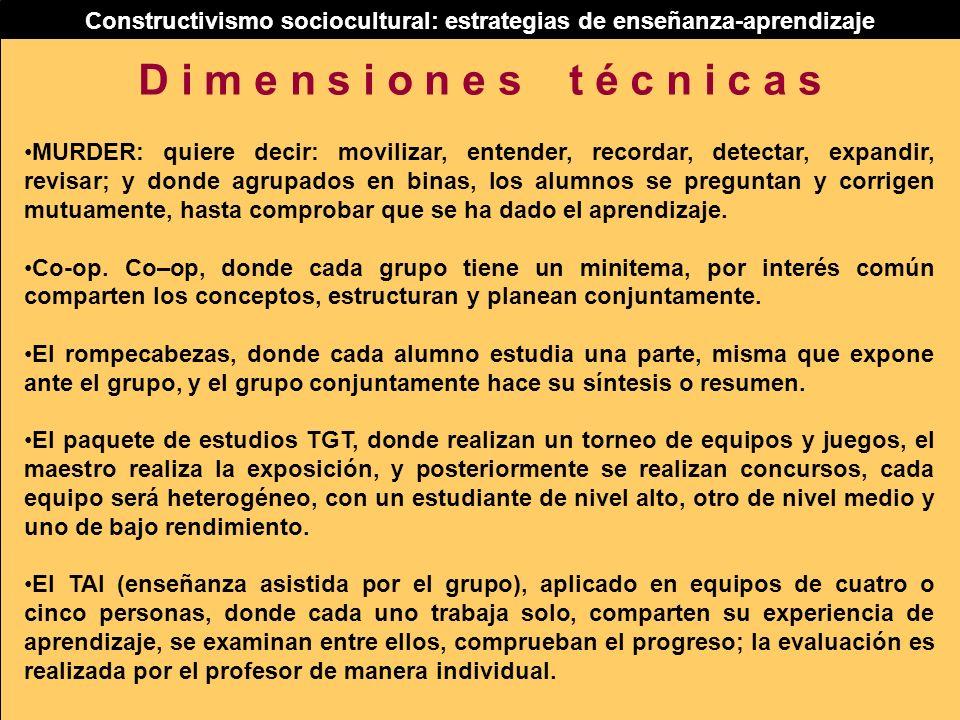 Constructivismo sociocultural: estrategias de enseñanza-aprendizaje MURDER: quiere decir: movilizar, entender, recordar, detectar, expandir, revisar;