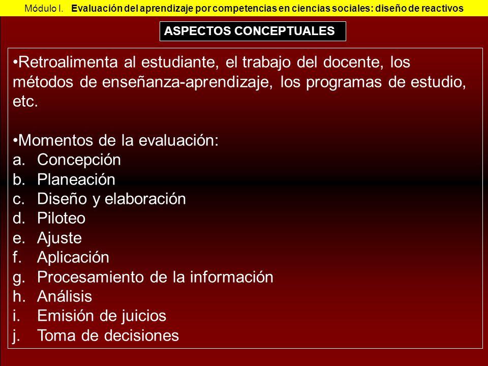 Módulo I. Evaluación del aprendizaje por competencias en ciencias sociales: diseño de reactivos Retroalimenta al estudiante, el trabajo del docente, l