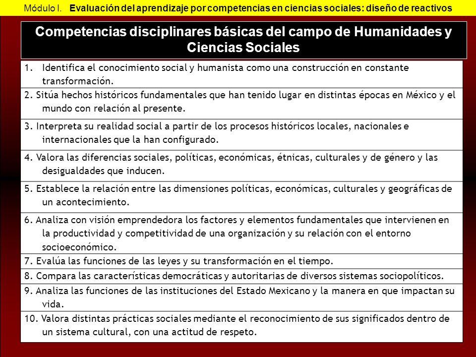Competencias disciplinares básicas del campo de Humanidades y Ciencias Sociales Módulo I. Evaluación del aprendizaje por competencias en ciencias soci