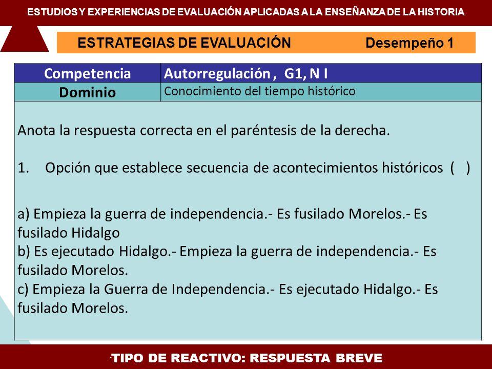 ESTRATEGIAS DE EVALUACIÓN Desempeño 1 ESTUDIOS Y EXPERIENCIAS DE EVALUACIÓN APLICADAS A LA ENSEÑANZA DE LA HISTORIA TIPO DE REACTIVO: IDENTIFICACIÓN DE CONOCIMIENTOS CompetenciaComunicación, G4, N II DominioCapacidad de interpretación gráfica Observa la gráfica sobre la población urbana y rural de México entre 1900 y 1980 y escribe en el paréntesis la opción que describa correctamente los datos.
