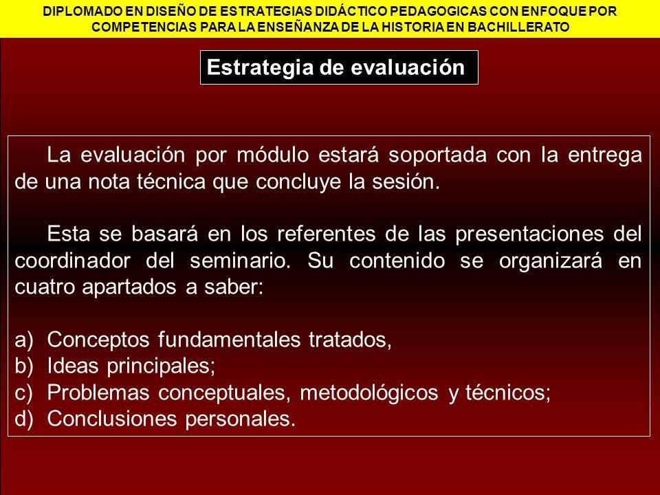 La evaluación por módulo estará soportada con la entrega de una nota técnica que concluye la sesión. Esta se basará en los referentes de las presentac