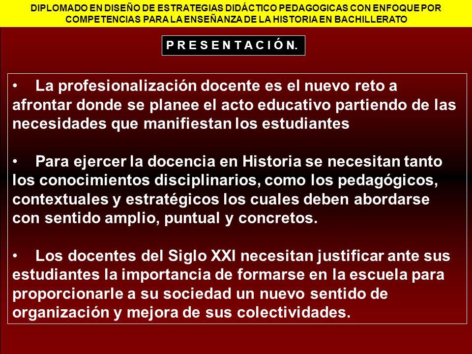 DIPLOMADO EN DISEÑO DE ESTRATEGIAS DIDÁCTICO PEDAGOGICAS CON ENFOQUE POR COMPETENCIAS PARA LA ENSEÑANZA DE LA HISTORIA EN BACHILLERATO La profesionali
