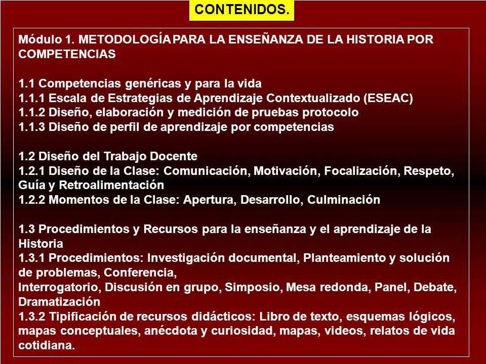 Módulo 1. METODOLOGÍA PARA LA ENSEÑANZA DE LA HISTORIA POR COMPETENCIAS 1.1 Competencias genéricas y para la vida 1.1.1 Escala de Estrategias de Apren