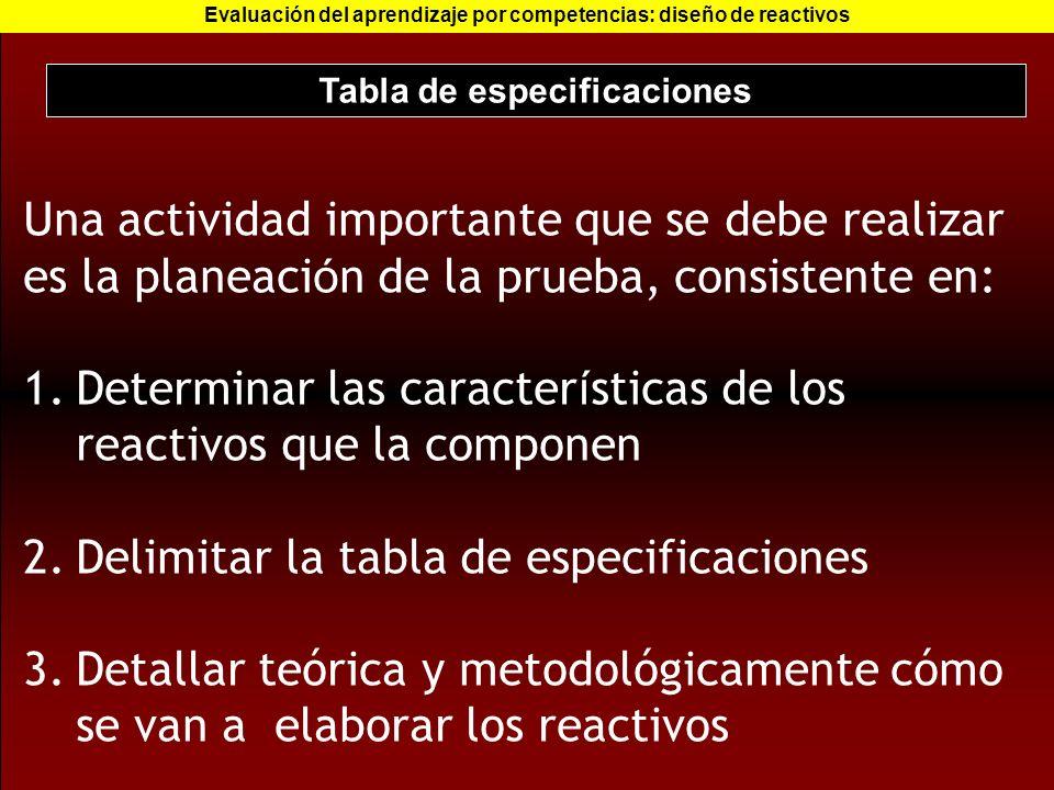 Tabla de especificaciones Evaluación del aprendizaje por competencias: diseño de reactivos Una actividad importante que se debe realizar es la planeac