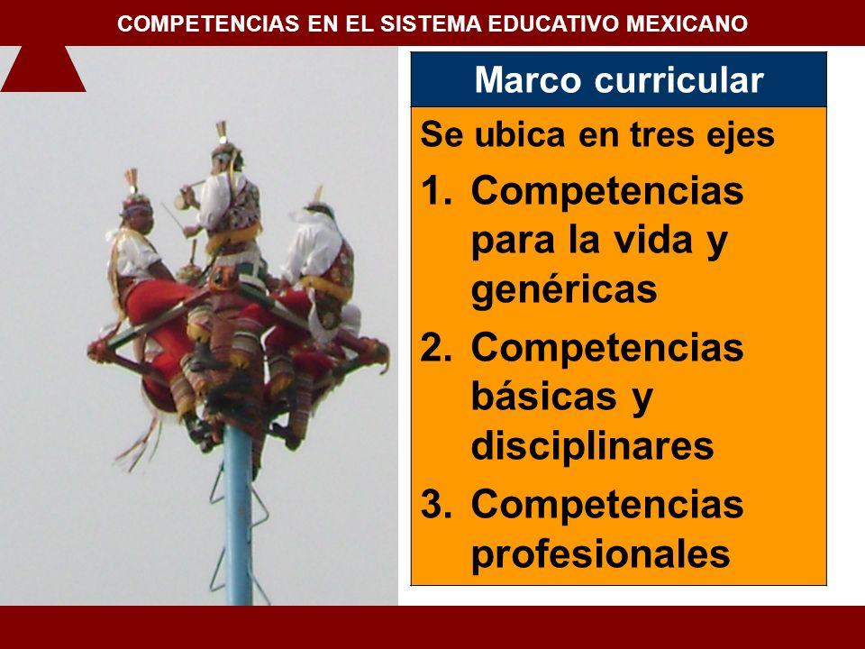 Marco curricular Se ubica en tres ejes 1.Competencias para la vida y genéricas 2.Competencias básicas y disciplinares 3.Competencias profesionales 1.