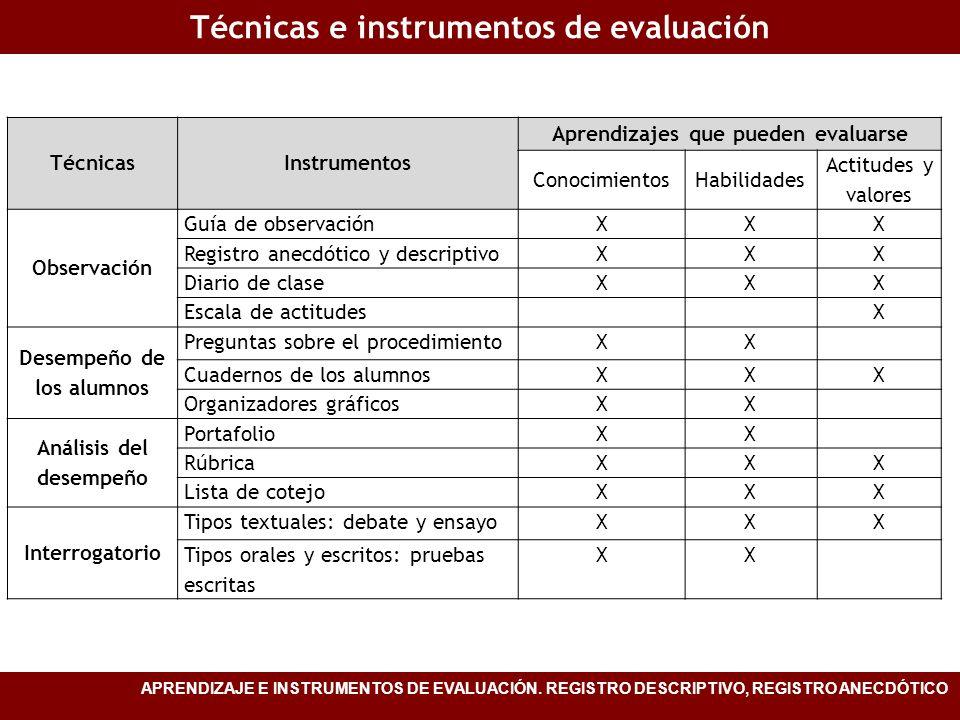 Técnicas e instrumentos de evaluación APRENDIZAJE E INSTRUMENTOS DE EVALUACIÓN. REGISTRO DESCRIPTIVO, REGISTRO ANECDÓTICO TécnicasInstrumentos Aprendi