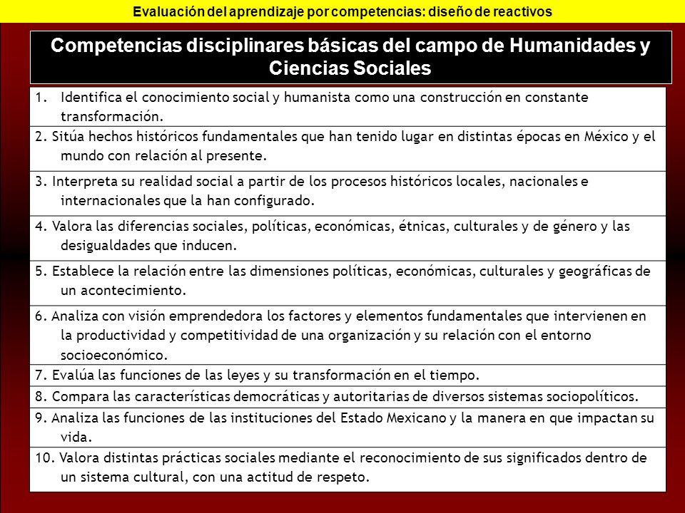 Competencias disciplinares básicas del campo de Humanidades y Ciencias Sociales Evaluación del aprendizaje por competencias: diseño de reactivos 1.Ide