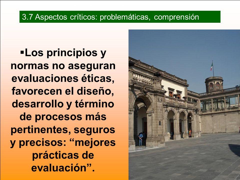 Los principios y normas no aseguran evaluaciones éticas, favorecen el diseño, desarrollo y término de procesos más pertinentes, seguros y precisos: mejores prácticas de evaluación.