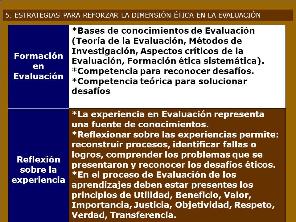 5. ESTRATEGIAS PARA REFORZAR LA DIMENSIÓN ÉTICA EN LA EVALUACIÓN Formación en Evaluación *Bases de conocimientos de Evaluación (Teoría de la Evaluació