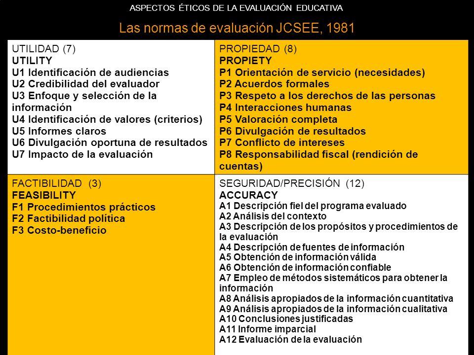 Las normas de evaluación JCSEE, 1981 UTILIDAD (7) UTILITY U1 Identificación de audiencias U2 Credibilidad del evaluador U3 Enfoque y selección de la información U4 Identificación de valores (criterios) U5 Informes claros U6 Divulgación oportuna de resultados U7 Impacto de la evaluación PROPIEDAD (8) PROPIETY P1 Orientación de servicio (necesidades) P2 Acuerdos formales P3 Respeto a los derechos de las personas P4 Interacciones humanas P5 Valoración completa P6 Divulgación de resultados P7 Conflicto de intereses P8 Responsabilidad fiscal (rendición de cuentas) FACTIBILIDAD (3) FEASIBILITY F1 Procedimientos prácticos F2 Factibilidad política F3 Costo-beneficio SEGURIDAD/PRECISIÓN (12) ACCURACY A1 Descripción fiel del programa evaluado A2 Análisis del contexto A3 Descripción de los propósitos y procedimientos de la evaluación A4 Descripción de fuentes de información A5 Obtención de información válida A6 Obtención de información confiable A7 Empleo de métodos sistemáticos para obtener la información A8 Análisis apropiados de la información cuantitativa A9 Análisis apropiados de la información cualitativa A10 Conclusiones justificadas A11 Informe imparcial A12 Evaluación de la evaluación ASPECTOS ÉTICOS DE LA EVALUACIÓN EDUCATIVA