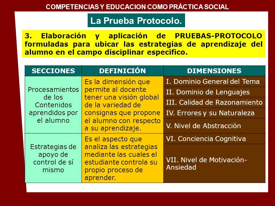 1. Conceptualización de la docencia en el Siglo XXI COMPETENCIAS Y EDUCACION COMO PRÁCTICA SOCIAL 3. Elaboración y aplicación de PRUEBAS-PROTOCOLO for