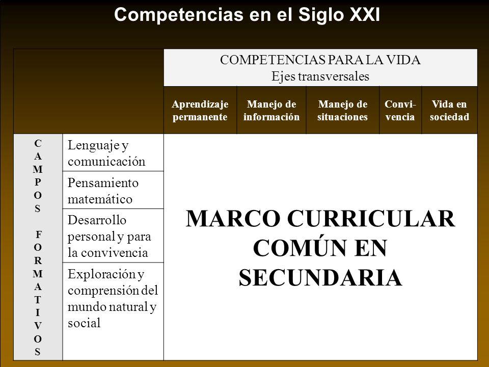 Competencias en el Siglo XXI COMPETENCIAS PARA LA VIDA Ejes transversales Aprendizaje permanente Manejo de información Manejo de situaciones Convi- ve