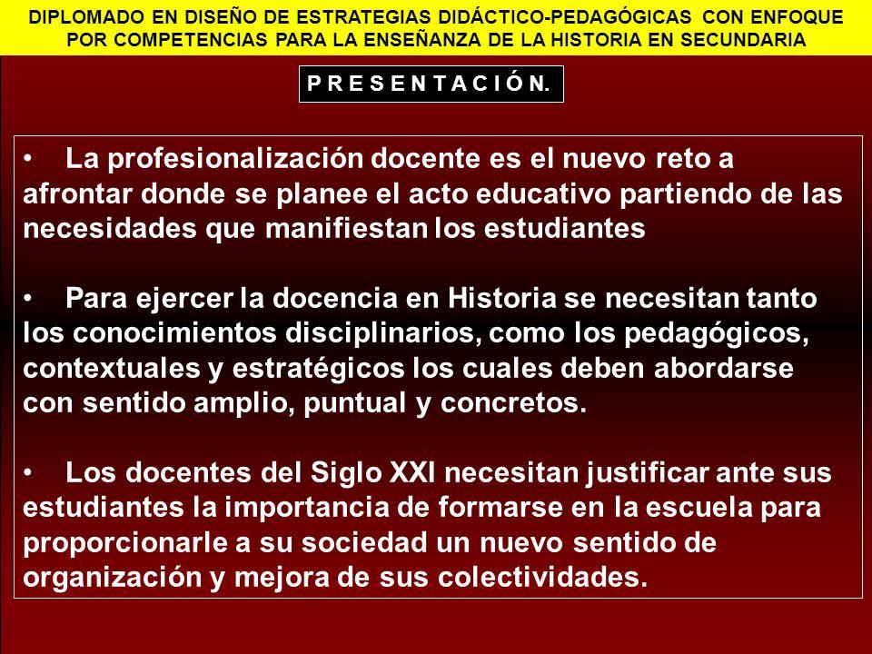 DIPLOMADO EN DISEÑO DE ESTRATEGIAS DIDÁCTICO-PEDAGÓGICAS CON ENFOQUE POR COMPETENCIAS PARA LA ENSEÑANZA DE LA HISTORIA EN SECUNDARIA La profesionaliza