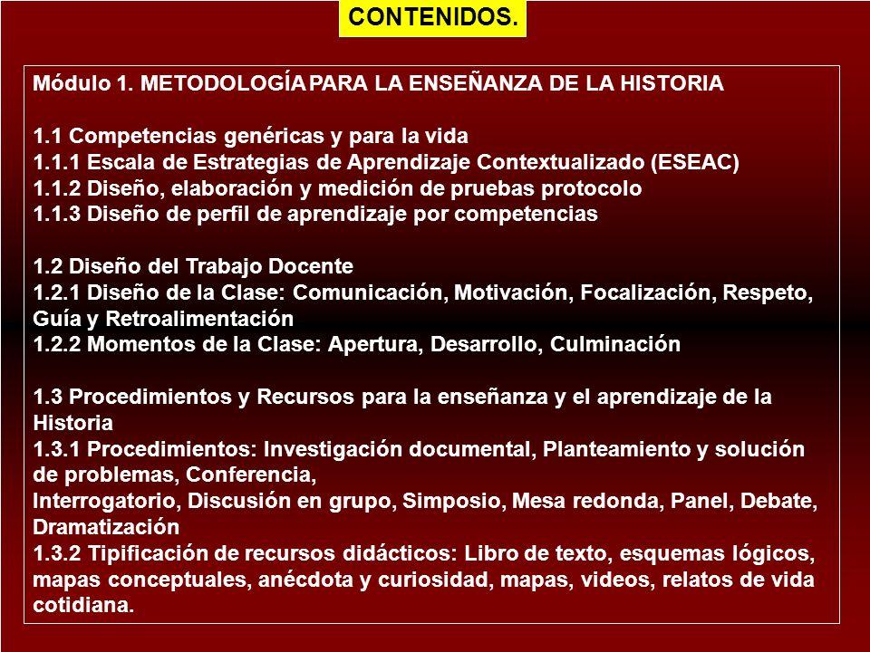 Módulo 1. METODOLOGÍA PARA LA ENSEÑANZA DE LA HISTORIA 1.1 Competencias genéricas y para la vida 1.1.1 Escala de Estrategias de Aprendizaje Contextual