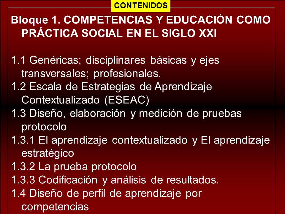 Bloque 1. COMPETENCIAS Y EDUCACIÓN COMO PRÁCTICA SOCIAL EN EL SIGLO XXI 1.1 Genéricas; disciplinares básicas y ejes transversales; profesionales. 1.2
