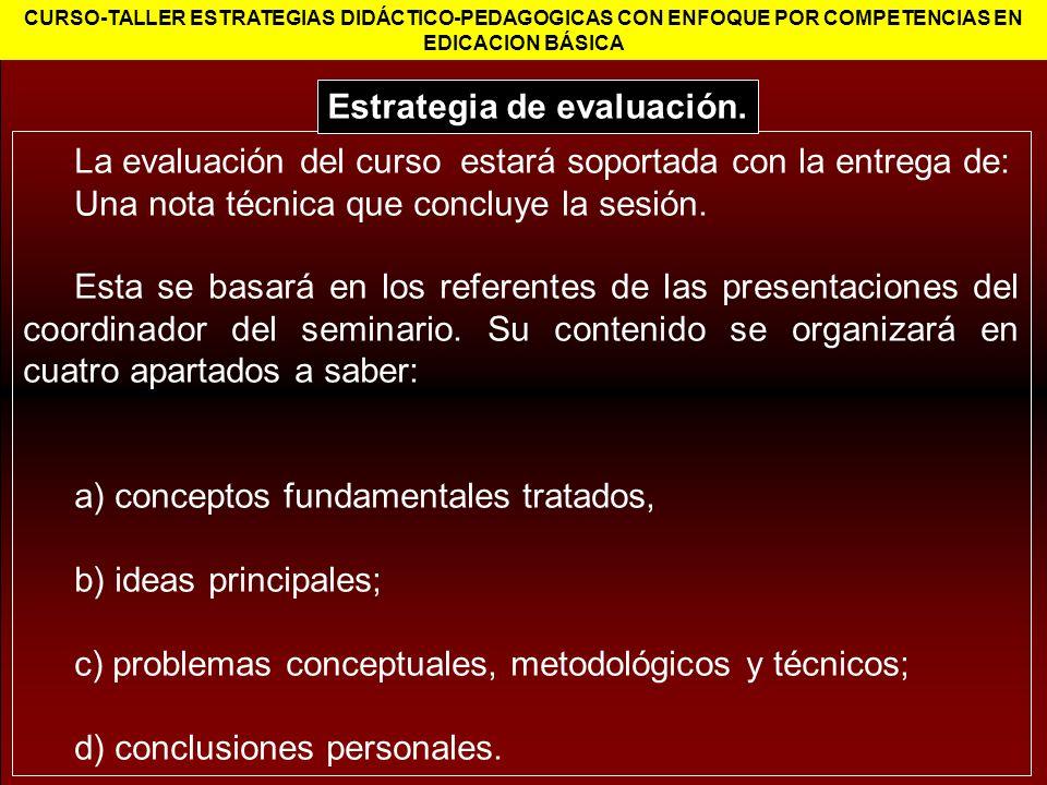 La evaluación del curso estará soportada con la entrega de: Una nota técnica que concluye la sesión. Esta se basará en los referentes de las presentac